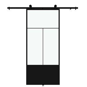 Porte de grange préfinie Nation de Colonial Elegance avec trousse d'installation, verre clair, 37 po x 84 po, métal noir