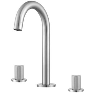Robinet de lavabo Industria d'Ancona pour salle de bains, 2 poignées, nickel brossé