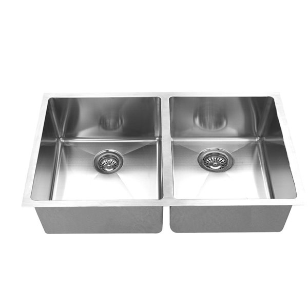 Elegant Stainless Undermount Kitchen Sink Double Equal Bowl 18 In X 36 In Stainless Steel Rona