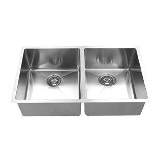 Évier de cuisine sous plan d'Elegant Stainless double, 18 po x 32 po, acier inoxydable