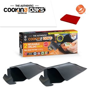 COOKINA Barbecue PAKS Reusable Grilling Pocket - 20-cm x 30-cm - 2-Pack