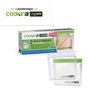 Sac à sandwich réutilisable ZipRRR de COOKINA, 20,5 cm x 20 cm, 850 ml, ens. de 2