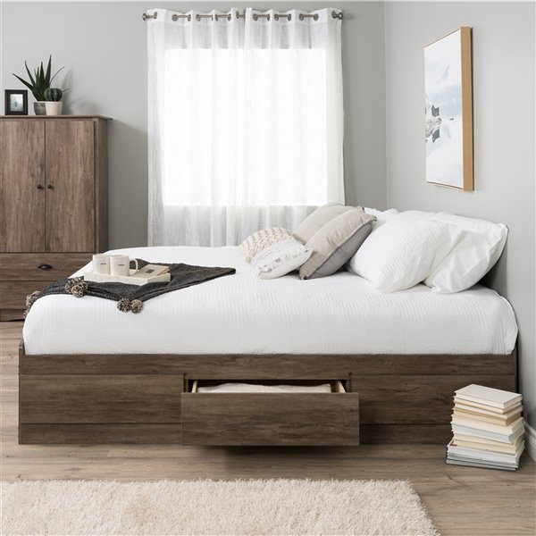 Prepac Queen's Mate Platform Storage Bed with 6 Drawers - Drifted Gray