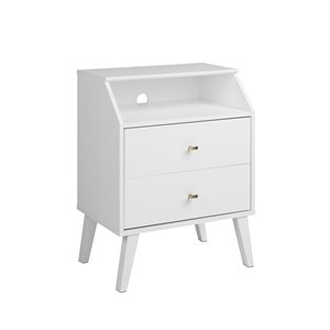 Prepac Milo 2-Drawer Night Stand with Angled Top - White