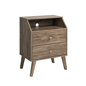 Prepac Milo 2-Drawer Night Stand with Angled Top - Drifted Gray