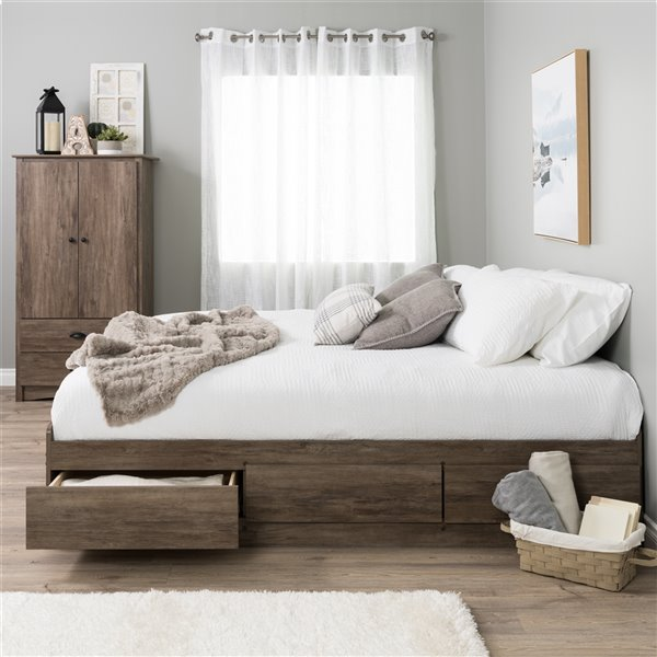 Prepac King Mate's Platform Storage Bed with 6 Drawers - Drifted Gray