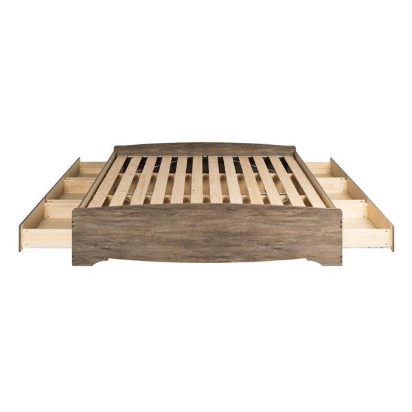 Base de lit matelot à 6 tiroirs pour très grand lit King's Mate de Prepac , gris
