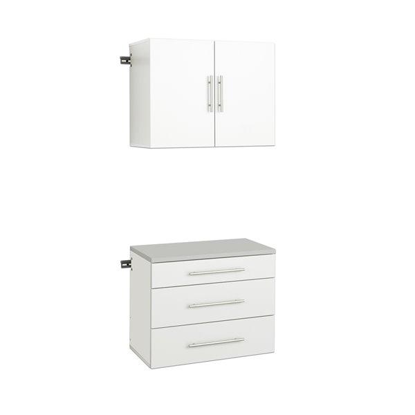 Prepac Hangups 2 Piece Storage Cabinet, White Wood Garage Storage Cabinets