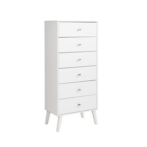 Prepac Milo Tall 6-Drawer Chest - White