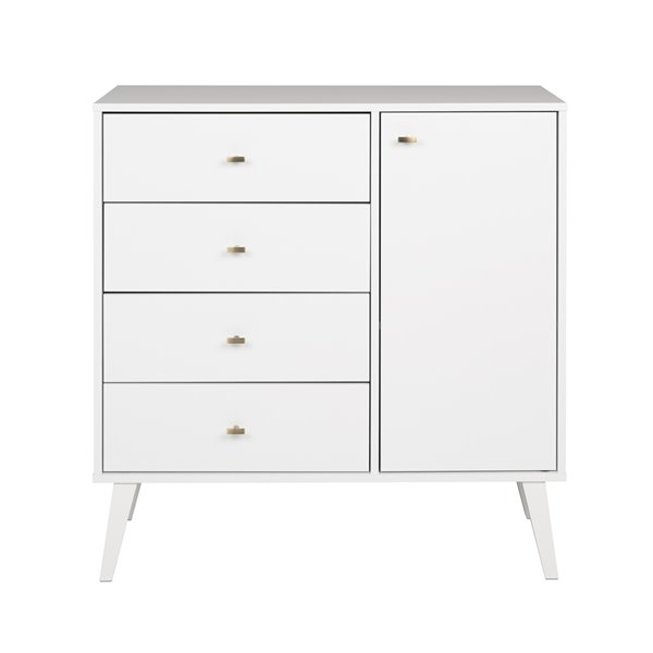 Prepac Milo 4-Drawer Chest with Door - White