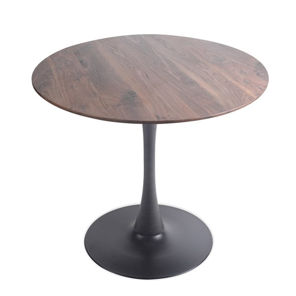 Soho Home Round Bistro Table - Walnut with Black Base - 31.5-in