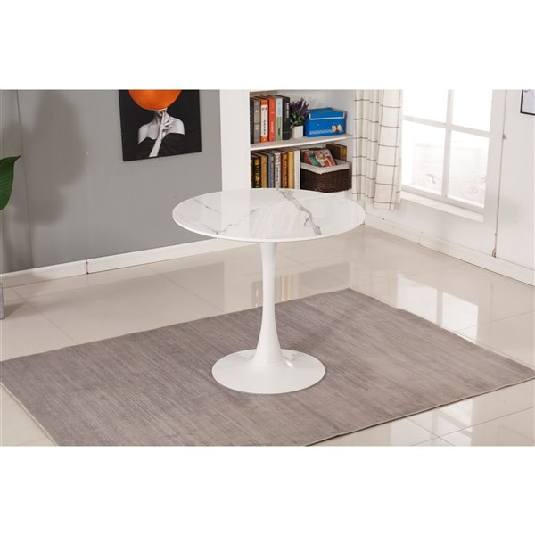 Soho Home Round Bistro Table - Faux-Marble - White - 31.5-in