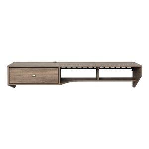 Bureau en porte-à-faux moderne avec tiroir de Prepac, stratifié, gris