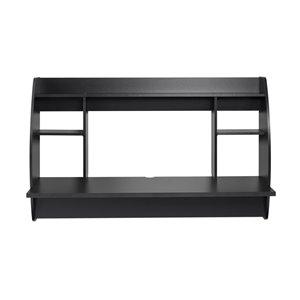 Bureau en porte-à-faux large Prepac de style moderne, stratifié, noir