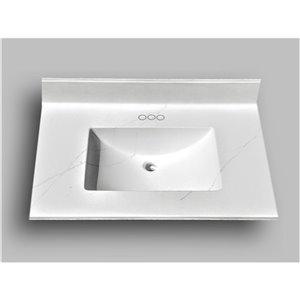 Comptoir de salle de bains en marbre Carrara The Marble Factory, lavabo rectangulaire, 31 po x 22 po, blanc