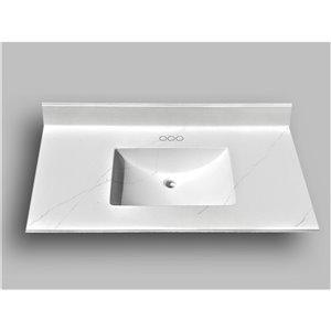 Comptoir de salle de bains en marbre Carrara The Marble Factory, lavabo rectangulaire, 37 po x 22 po, blanc