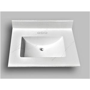 Comptoir de salle de bains en marbre Carrara The Marble Factory, lavabo rectangulaire, 25 po x 22 po, blanc