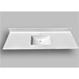 Comptoir de salle de bains en marbre Carrara The Marble Factory, lavabo rectangulaire, 61 po x 22 po, blanc