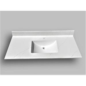 Comptoir de salle de bains en marbre Carrara The Marble Factory, lavabo rectangulaire, 49 po x 22 po, blanc