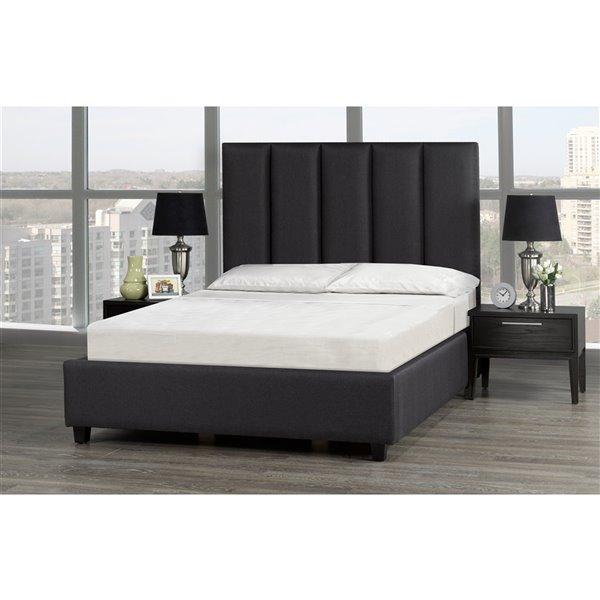 5 Brother's Upholstery Celine Queen Platform Bed - Dark Grey Linen