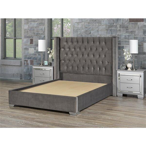 5 Brother's Upholstery Kona Queen Platform Bed - Grey Velvet