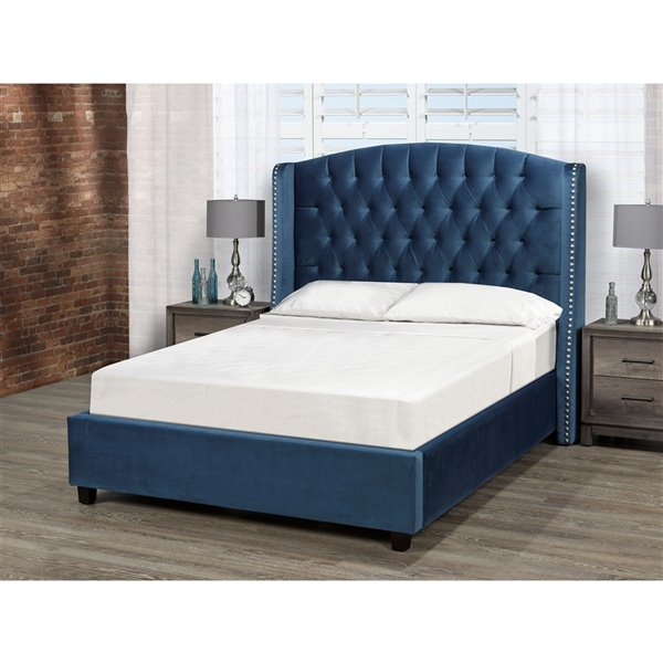 5 Brother's Upholstery Sophia King Platform Bed - Dark Teal Velvet