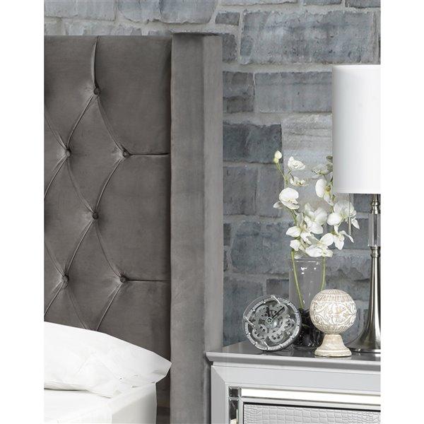 5 Brother's Upholstery Kona King Platform Bed - Grey Velvet
