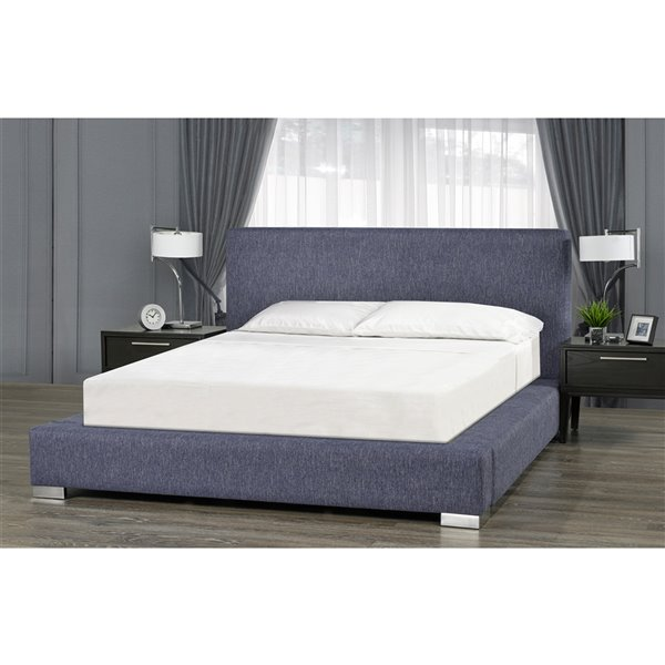 5 Brother's Upholstery Jasper Queen Platform Bed - Blue Linen