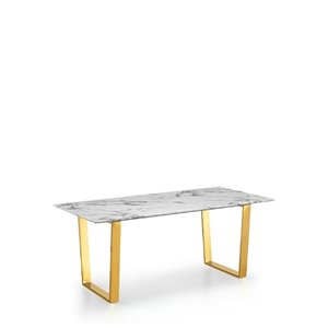 Plata Import Rectangular Marble Dining Table with Gold Base