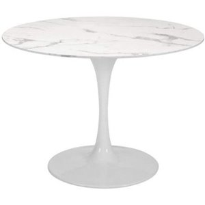 Plata Import Leo Dining Table with Tulip Base - 32-in - Marble