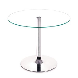 Plata Import Sir Glass Dining Table with Pedestal Base - 32-in - Chrome