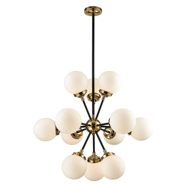 Plata Import Atoms Elegant Chandelier - Gold/White