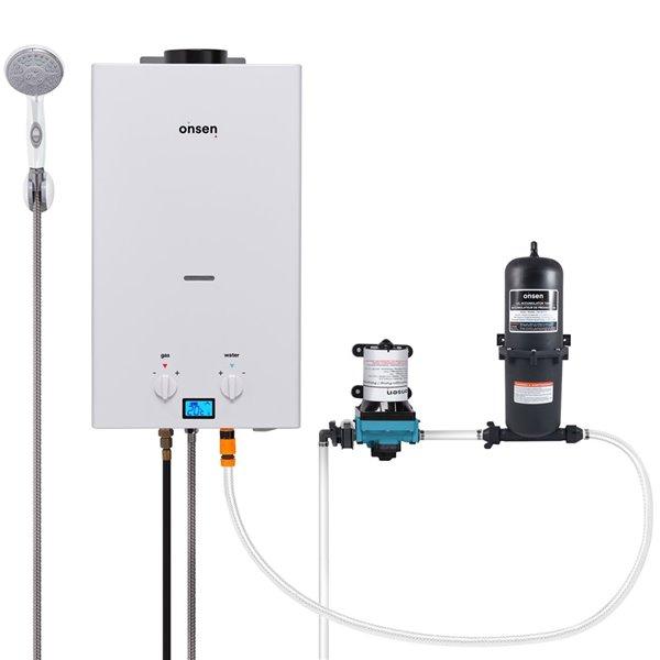 Chauffe-eau portatif Onsen 10 L, pompe 3 gal/min, accumulateur 1 L