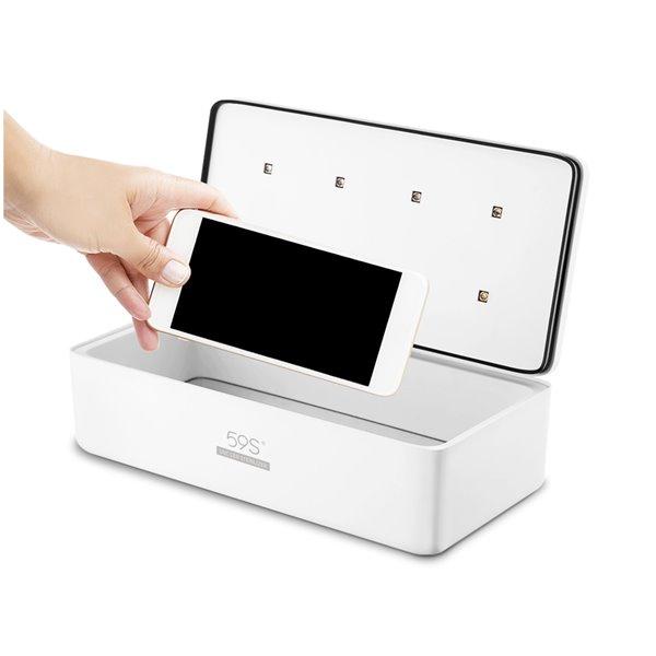Boîte de stérilisation 59S S2 à DEL UV, blanc