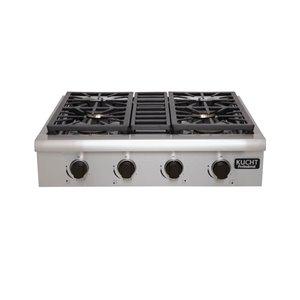 Plaque de cuisson au gaz naturel KUCHT, 4 brûleurs, 30 po x 27 po, acier inoxydable/noir
