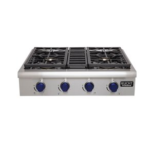 KUCHT Natural Gas Cooktop - 4-Burner - 30-in x 27-in - Stainless Steel/Royal Blue
