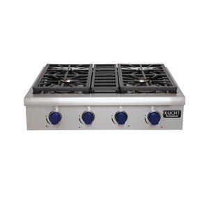 Plaque de cuisson au gaz naturel KUCHT, 4 brûleurs, 30 po x 27 po, acier inoxydable/bleu royal