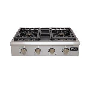 Plaque de cuisson au gaz naturel KUCHT, 4 brûleurs, 30 po x 27 po, acier inoxydable