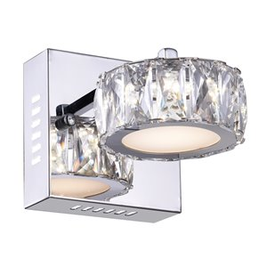 CWI Lighting Milan Glam Bathroom Wall Sconce - LED Light - Chrome