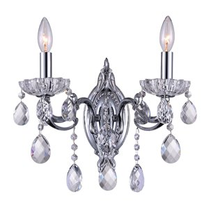 CWI Lighting Flawless Traditional Wall Sconce - 2-Light - Chrome