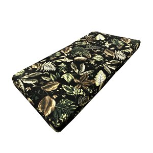 20 x 42 Outdoor Patio Loveseat Bench Cushion in Black Floral Leaves with Zipper