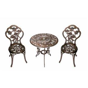 Oakland Living Rose Bistro Set - 3 Pieces - Bronze
