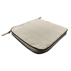 19 x 20 Outdoor Patio Dining Chair Cushion in Off-White with Ties