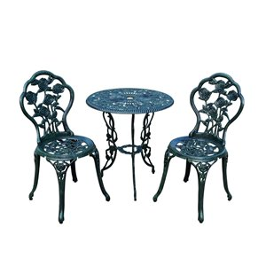 Oakland Living Rose Bistro Set with Table and Chairs - 3 Pieces - Green