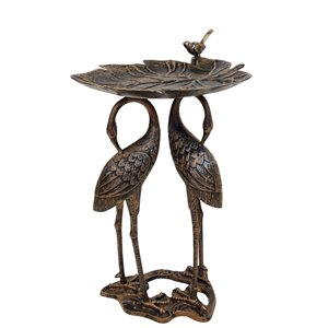 Oakland Living 2 Crane Lily Bird Bath - Antqie Bronze