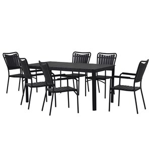 Oakland Living Outdoor Modern Faux Wood Dining Set - 7 Pieces - Black