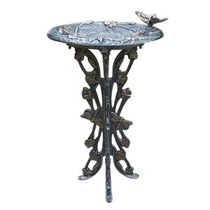 Oakland Living Butterfly Dragonfly Bird Bath - Antique Pewter