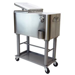 Oakland Living Party Cooler Cart - 15 Gallon - Stainless Steel