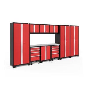 Armoire Bold Series de New Age Products, en acier et acier inoxydable, à 8 tiroirs, ensemble de 10 morceaux, rouge