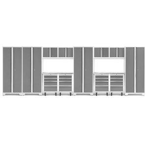 Armoire Bold Series de New Age Products, en acier et en acier inoxydable, à 16 tiroirs, ensemble de 14 morceaux, platine